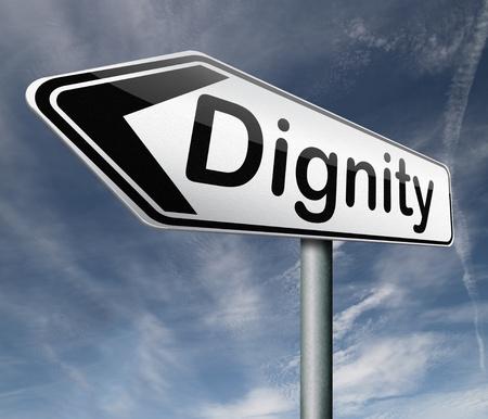 dignit�: l'estime de soi la dignit� ou au respect confiance et de fiert� Banque d'images
