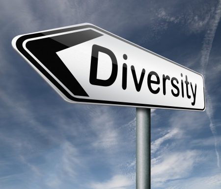 diversification: Diversity towards diversification in culture ethnic social age gender genetics political issues road sign arrow pointing