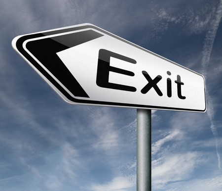 way out: exit road sign arrow the way out to the finish exit door emergency door escape route leaving emergency exit guide pointing direction evacuate evacuation Stock Photo