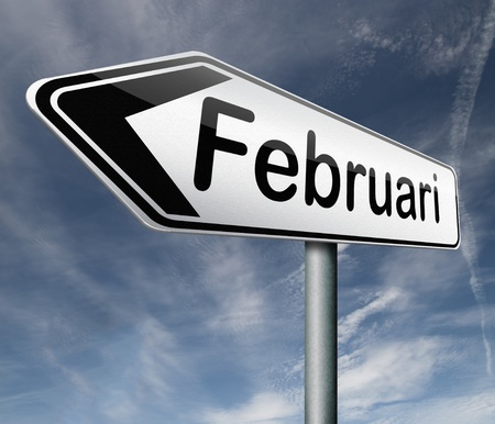 Februari pointing to next month of the year road sign arrow Stock Photo - 16575579