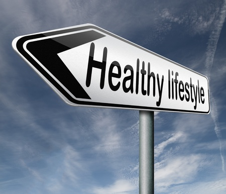 healthy lifestyle: healthy lifestyle healthcare roadsign with text