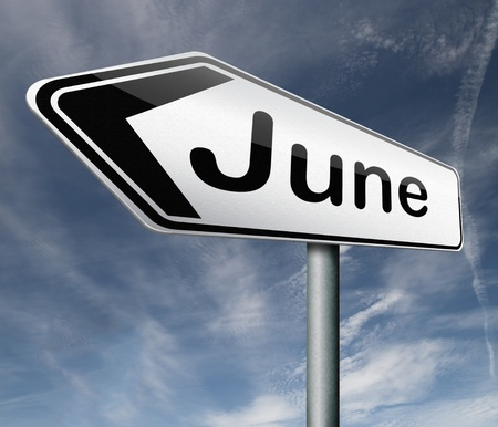 June pointing to next month of the year summer road sign arrow Stock Photo - 16575576