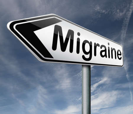 migraine headache chronic pain in head diagnosis therapy or medication road sign arrow Stock Photo - 16575405