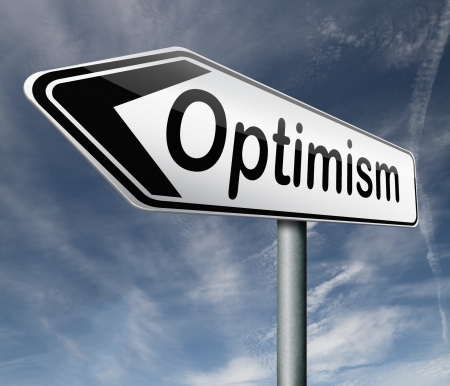 optimism positive thinking a positivity attitude leads to a happy life and mental health road sign arrow photo