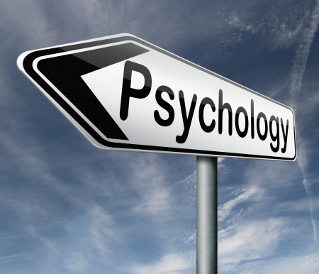 psycho social: psychology psycho therapy for mental health against depression trauma,phobia schizophrenia road sign arrow Stock Photo