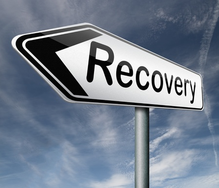 road to recovery: recovery economic growth market recovery button icon road sign arrow