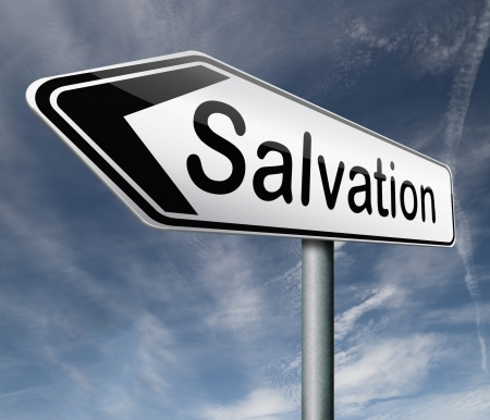 salvation follow jesus and god to be rescued save your soul icon button Stock Photo - 16575516