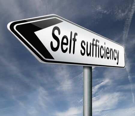 self sufficient: self sufficiency sustainable renewable energy and agriculture auto sufficient and simple living,road sign arrow