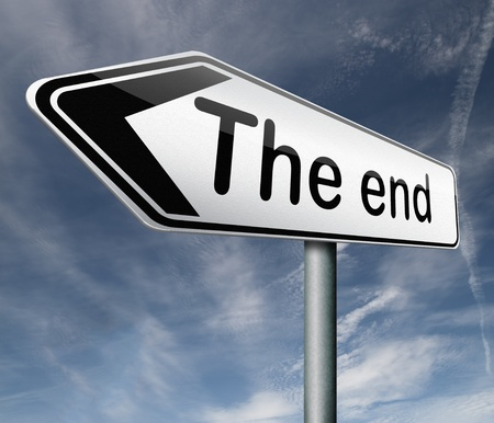 last year: the end road sign arrow pointing to finish point way out  Stock Photo