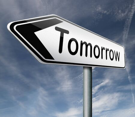 hopeful: tomorrow what will the future bring a new beginning icon button next day Stock Photo