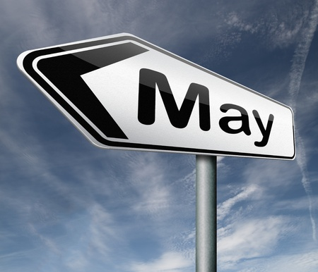 May pointing to next month of the year spring road sign arrow Stock Photo - 16575397