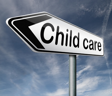 babysitting: child care in daycare or creshe by nanny or au pair parenting or babysitting protection against child abuse road sign arrow Stock Photo