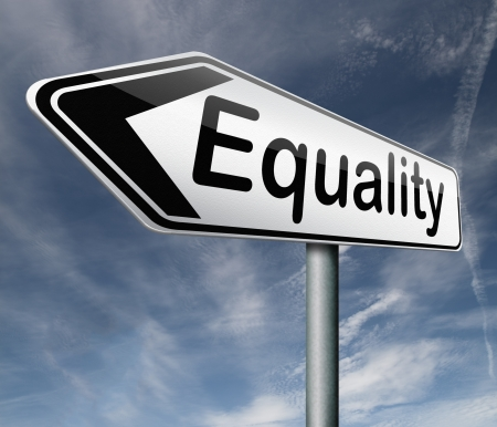 equal rights: equality equal rights and opportunities for all women man disabled black and white solidarity discrimination of people with disability or physical and mental handicap  Stock Photo