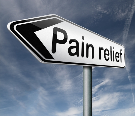 Pain Management: pain relief or management by painkiller or other treatment chronic back injury road sign with text Stock Photo
