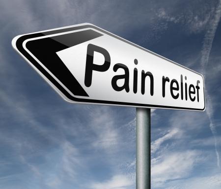 gesundheitsmanagement: Schmerzlinderung oder Verwaltung durch Schmerzmittel oder andere Behandlung chronischer R�ckenverletzung Schild mit Text Lizenzfreie Bilder