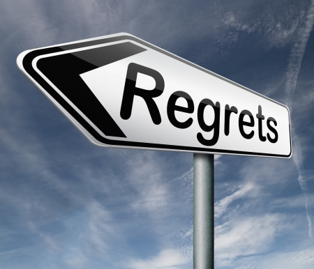 regret or no regrets saying sorry and offer apologize being ashamed for bad decisions Stock Photo - 16820581