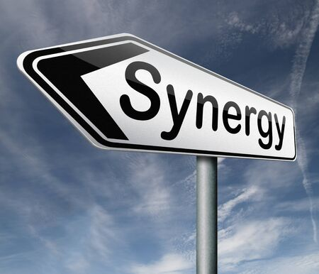 combined effort: synergy or combined effort working together team work road sign arrow text