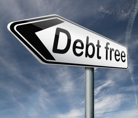 debt free zone or tax reduction today relief of taxes having good credit financial success road sign arrow paying debts for financial freedom photo