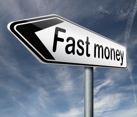 easy: fast easy money quick extra cash make a fortune online income road sign arrow Stock Photo