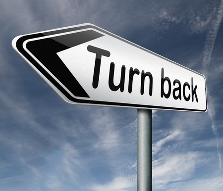 u turn back detour reverse track go back turning opposite direction raod sign arrow Stock Photo - 16822281