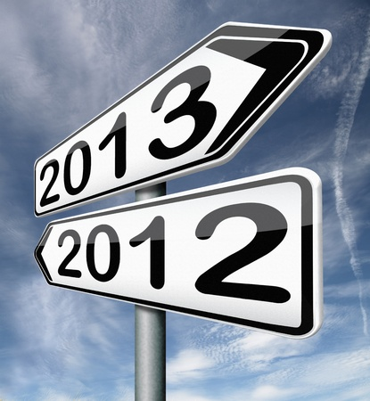 new year 2013 next and previous years the future starting from the end of 2012 road sign arrow photo
