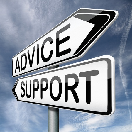 advice and support online help desk warning sign Stock Photo - 17411633