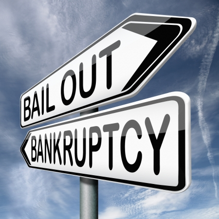 bailout or bankruptcy economic crisis and financial recession  Stock Photo - 17411735