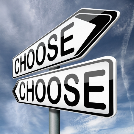 difficult choice or decision when you can't choose being doubtful or in doubt because of confusion you become insecure and indecisive act here and now Stock Photo - 17411679
