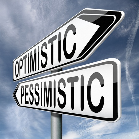 reacts: optimistic or pessimistic optimism and positivity or pessimism and negativity a pessimist reacts positive while a pessimist will be negative Stock Photo