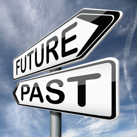 future or past yesterday or tomorrow timeline road sign arrow Stock Photo