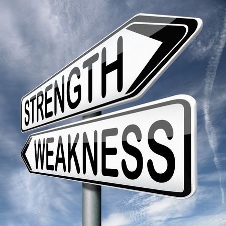 weakness: strength or weakness overcome fragility strong or weak road sign signpost