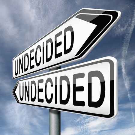indecisive: undecided and having a difficult choice when you cant choose being doubtful or in doubt because of confusion you become insecure and indecisive Stock Photo