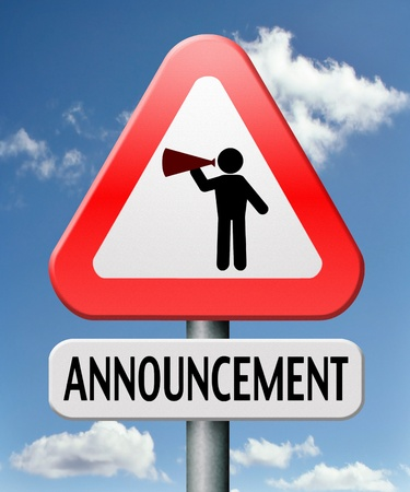 important announcement loudspeaker warning sign Stock Photo - 17411463