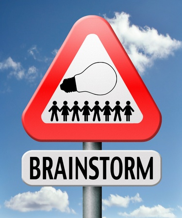 Brainstorm teamwork to create new idea or solution team brainstorming search innovation and inspiration Stock Photo - 17411507