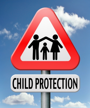 child protection and care give children a safe home and protect them from abuse or domestic violence Stock Photo - 17411424