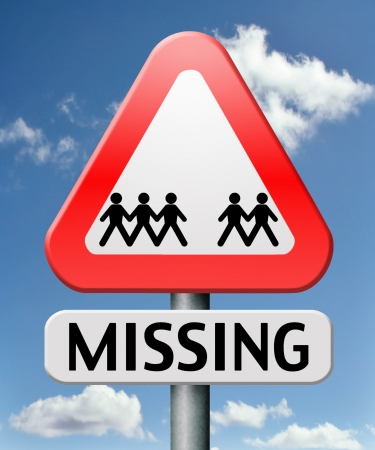 missing or lost person or child search warning sign photo