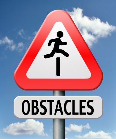 obstacle ahead caution for danger take the challenge avoid and overcome the problem prepare for difficult and avoiding hard times jump the hurdles or obstacles Stock Photo - 17411469