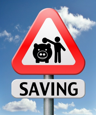 saving money in piggy bank deposit account with savings plan photo