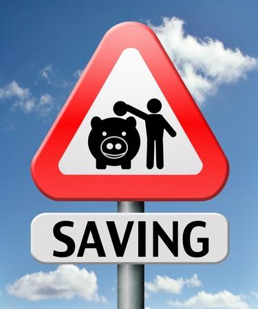 saving tips: saving money in piggy bank deposit account with savings plan Stock Photo