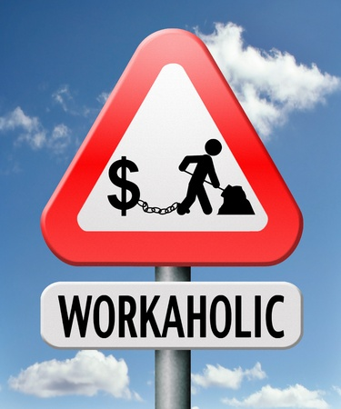 office slave: workaholic money slave working hard to earn income by doing over time in a difficult job like in slavery or being under paid