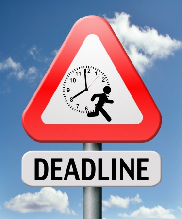 expiring: deadline hurry up and work against the clock gives job stress last minute task or late target date