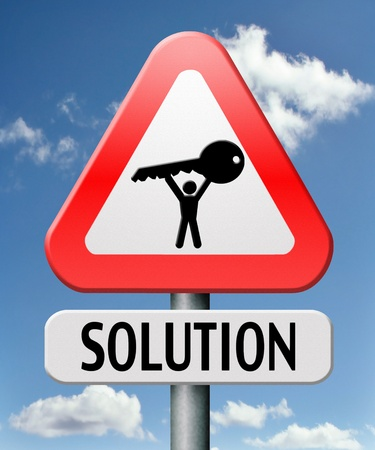 solving problem: search solution by solving problem and finding answers on questions Stock Photo