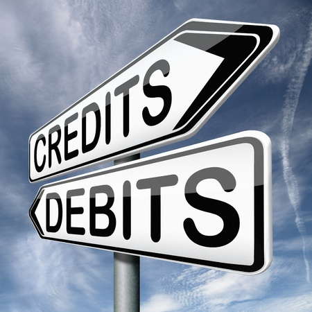 current account: credits or debits financial transaction and bookkeeping for current account debit or credit cards Stock Photo