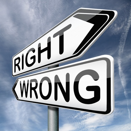 right or wrong direction or difficult choice for answers on questions making a mistake Stock Photo - 17411603