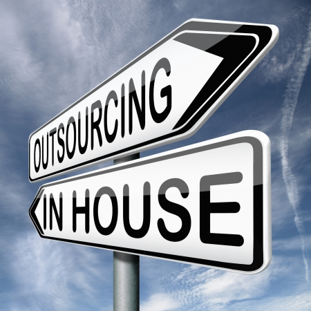 outsourcing: outsourcing or insourcing in house solution or external expert or expertise hiring a freelance independant employer Stock Photo