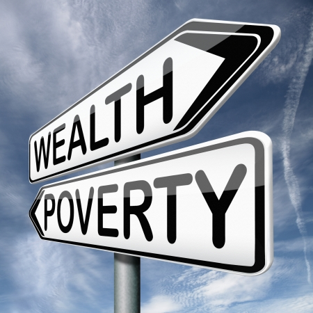 wealth or poverty trap rich or poor depends on forture or misfortune good or bad luck Stock Photo - 17411721