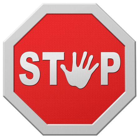 halt: stop warning road sign hand stopping signpost halt Stock Photo