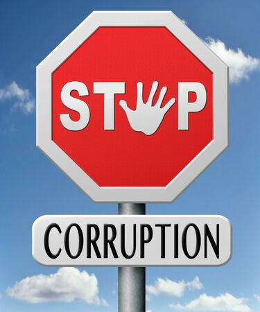 bribery: stop corruption and bribery political or police can be corrupt  Stock Photo