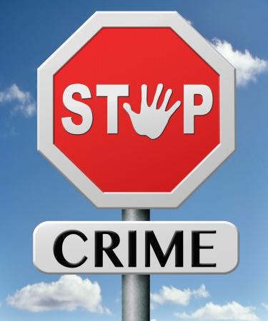 stop crime stopping criminals by neighborhood watch or police force fight criminal behavior stopping violence and arrest offenders or just by prevention Stock Photo - 17463037