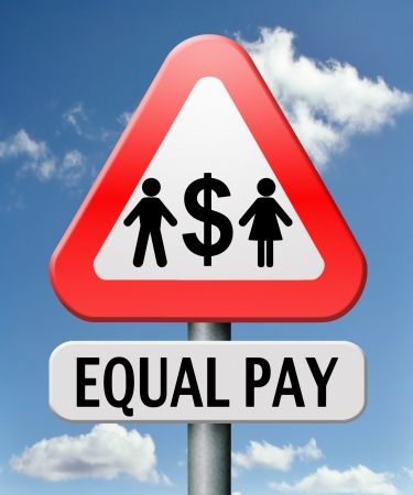 equal pay equal rights for man and woman on work marked fair payment opportunities with same salary photo
